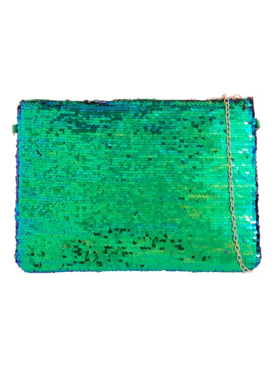 Green Reversible Sequin Zip Top Clutch front