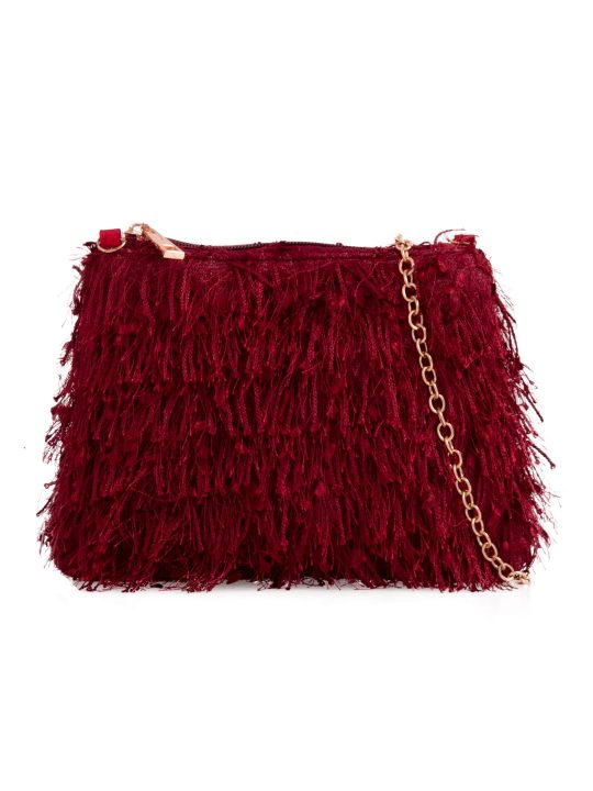 Burgundy Silky Fringe Bag