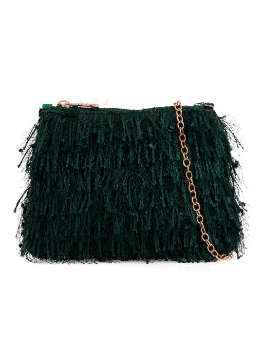 Green Silky Fringe Bag