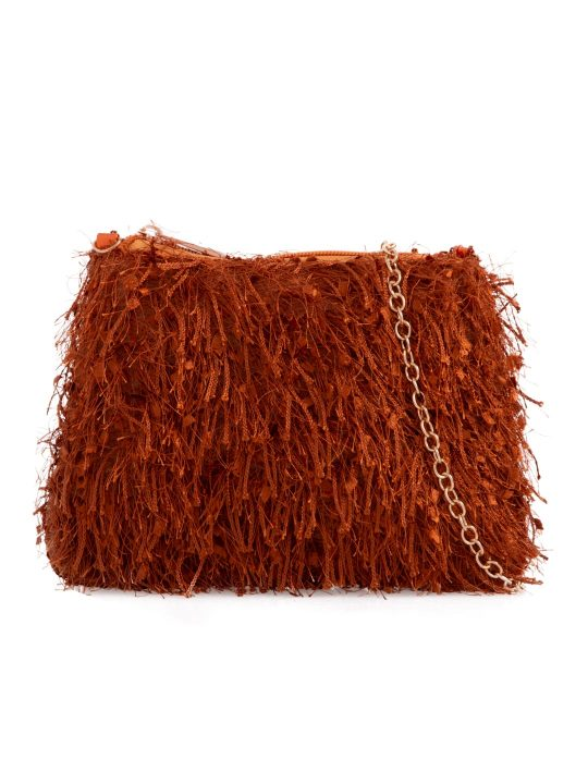 Tan Silky Fringe Bag