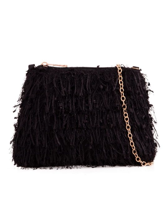 Black Silky Fringe Bag