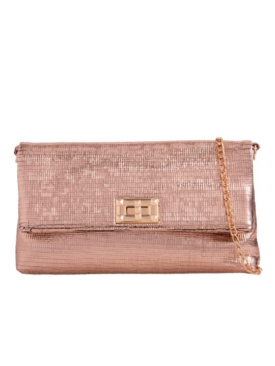 Champagne Metallic Foldover Bag
