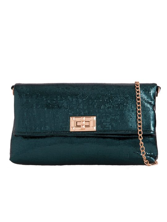 Green Metallic Foldover Bag front