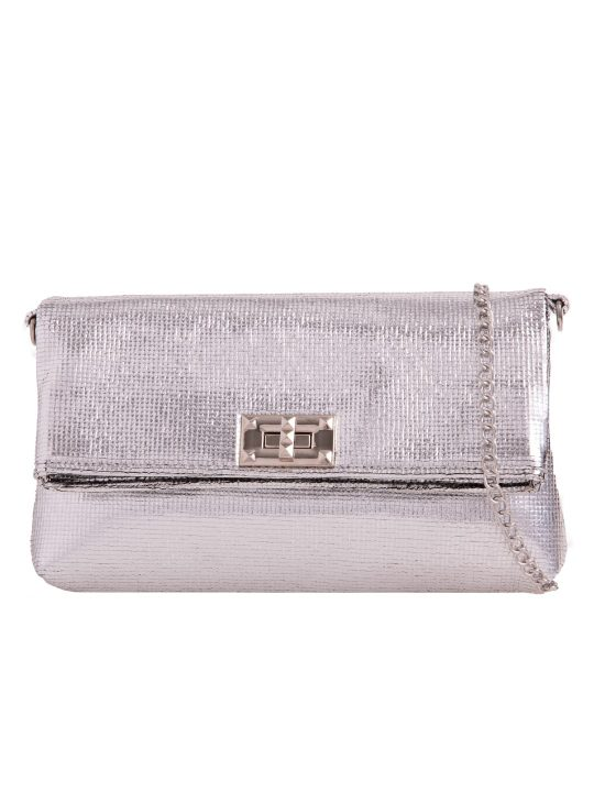 Silver Metallic Foldover Bag