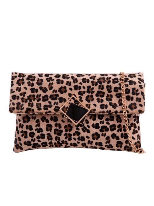 Leopard Print Foldover Clutch