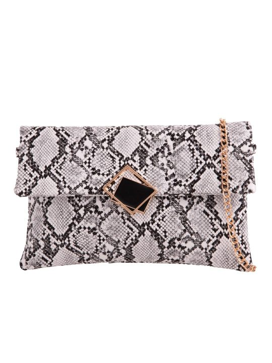 White Faux Snakeskin Foldover Clutch front