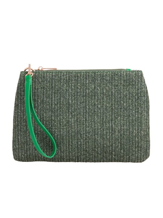 Green Imitation Straw Pouch