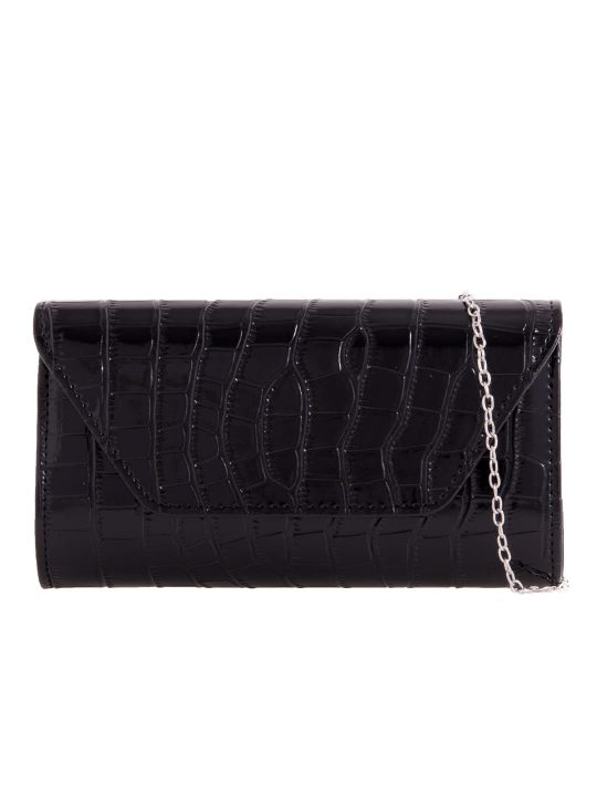 black faux leather foldover clutch