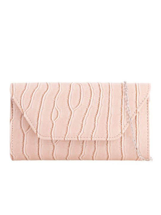 Nude Faux Leather Foldover Clutch