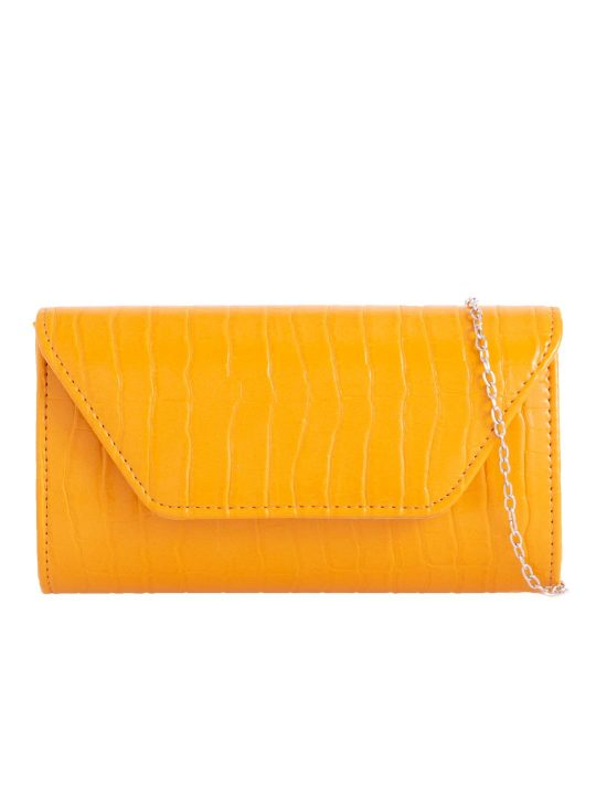 Yellow Faux Leather Foldover Clutch