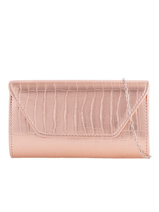 Champagne Faux Leather Foldover Clutch