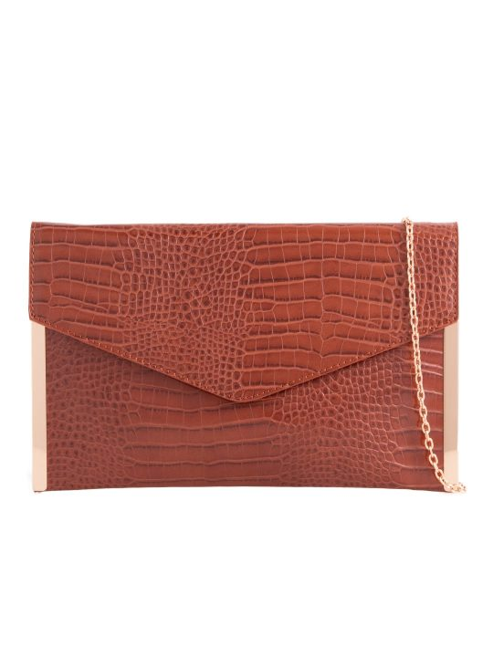 Brown Metal Trim Clutch bag