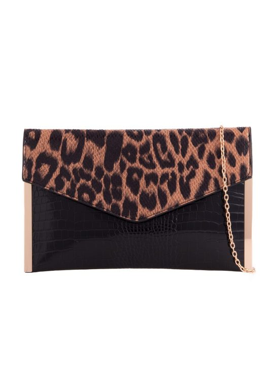 Leopard Print Metal Trim Clutch bag