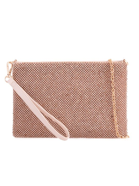 Champagne Diamante Pouch Bag