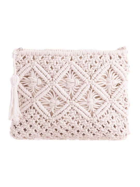 White Bohemian Crochet Clutch