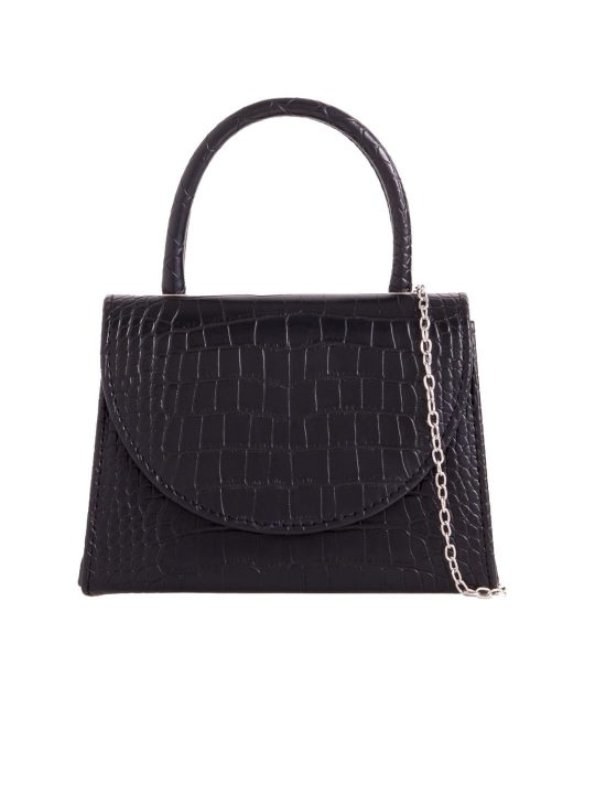 Black Crocodile Print Handbag