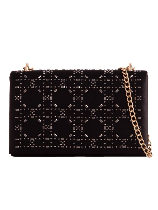 Black Satin Diamante Shoulder Bag