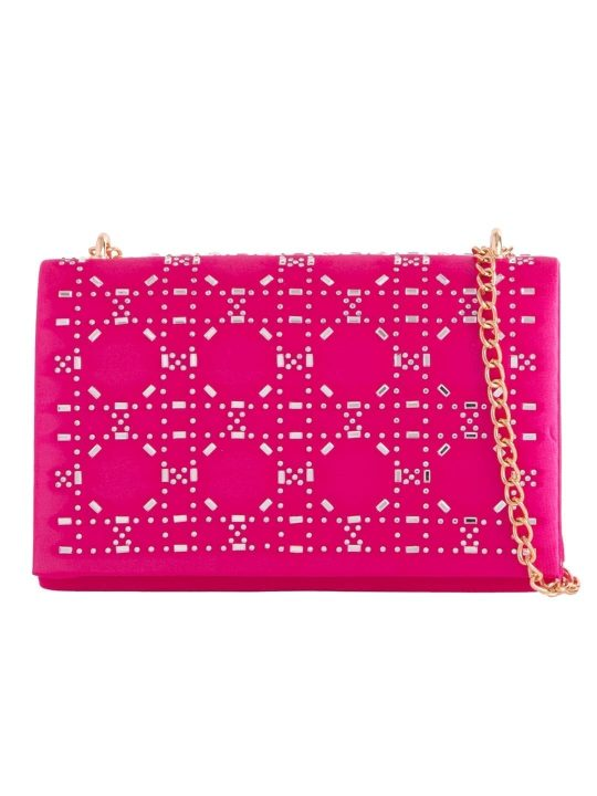 Fuchsia Satin Diamante Shoulder Bag