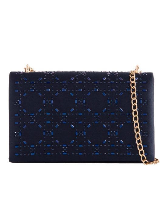 Navy Satin Diamante Shoulder Bag