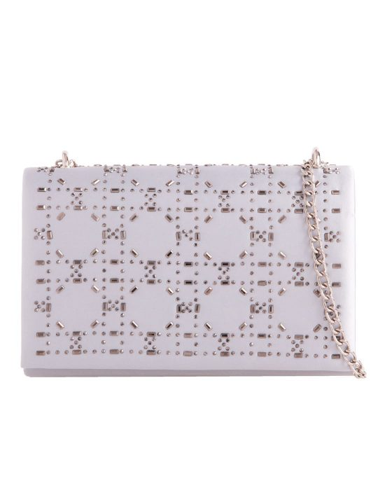 Silver Satin Diamante Shoulder Bag