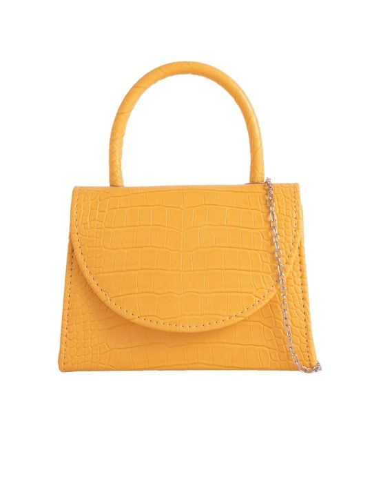 Yellow Crocodile Print Handbag