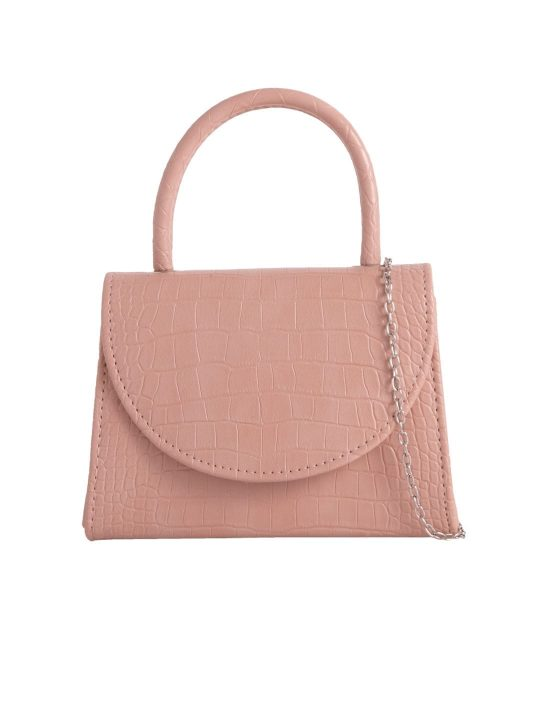Blush Crocodile Print Handbag