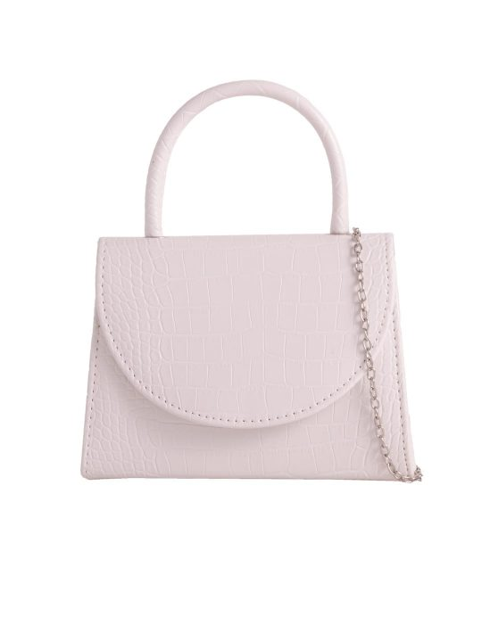 White Crocodile Print Handbag