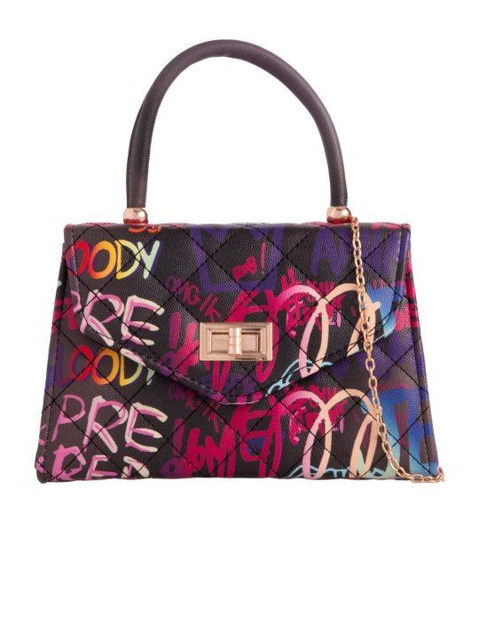 Colourful Graffiti Slogan Crossbody Bag