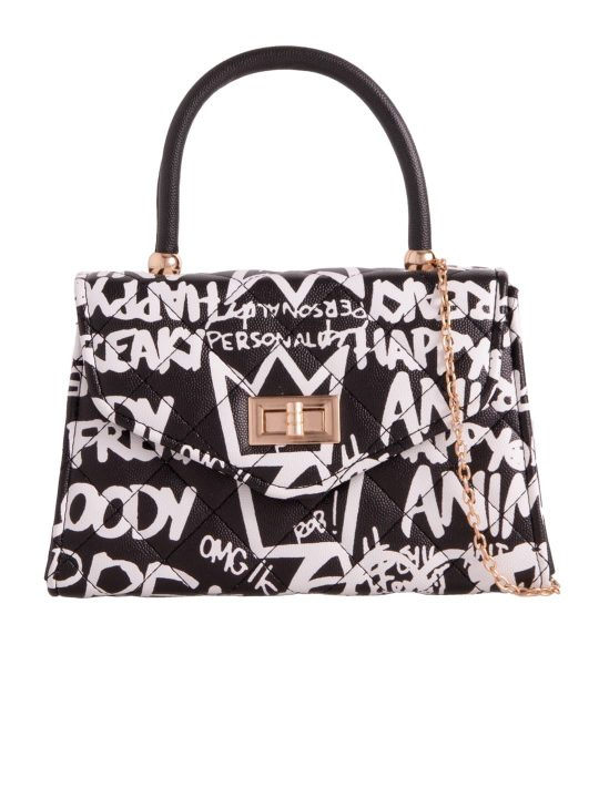 graffiti slogan crossbody bag black