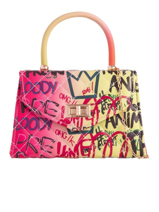 Graffiti Slogan Crossbody Bag Multi
