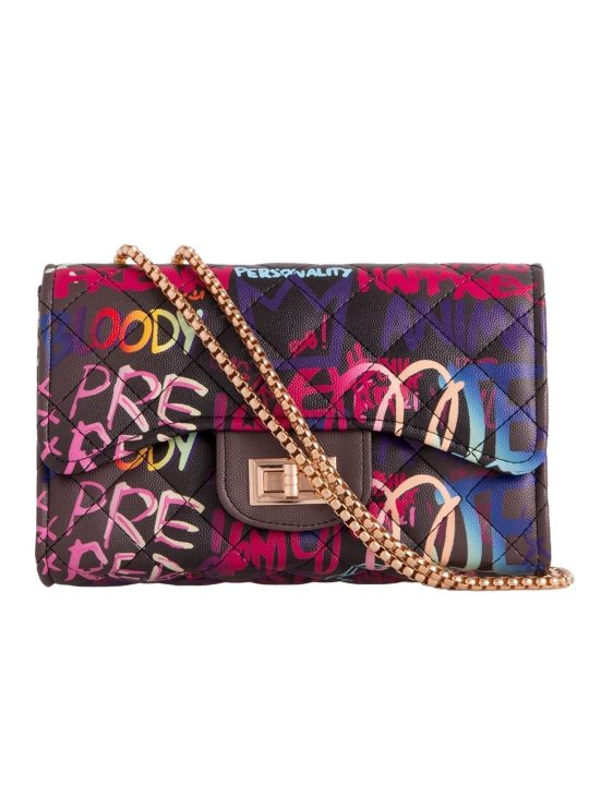 colourful graffiti slogan shoulder bag