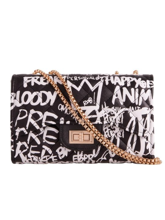 Graffiti Slogan Shoulder Bag Black