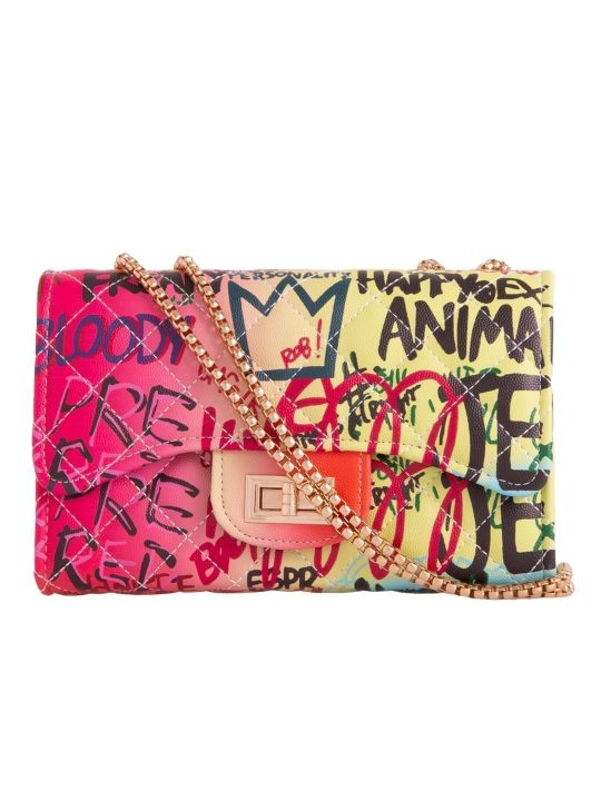 Graffiti Slogan Shoulder Bag Multi