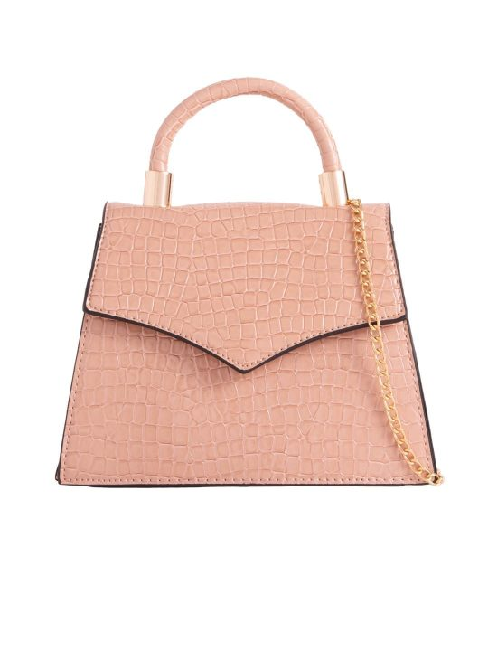 Nude Crocodile Print Grab Bag