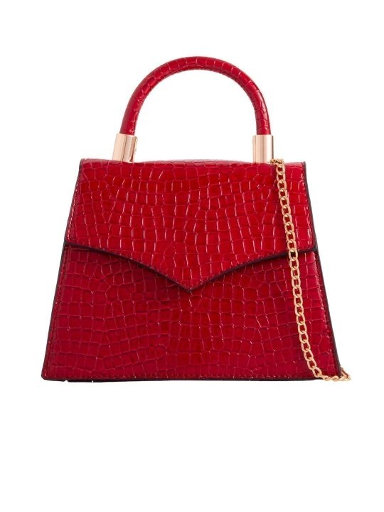 Red Crocodile Print Grab Bag