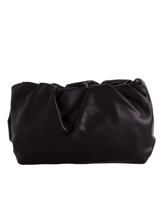 Black Ruched Clutch Bag