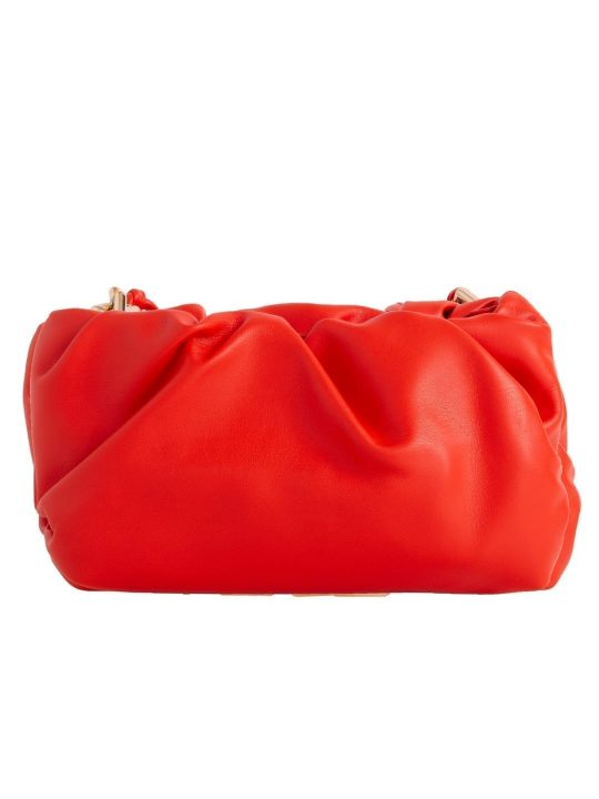 Orange Ruched Clutch Bag