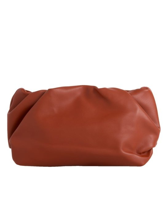 Tan Ruched Clutch Bag