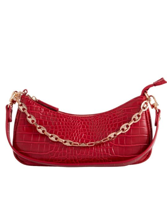 Red Vintage Chain Shoulder Bag
