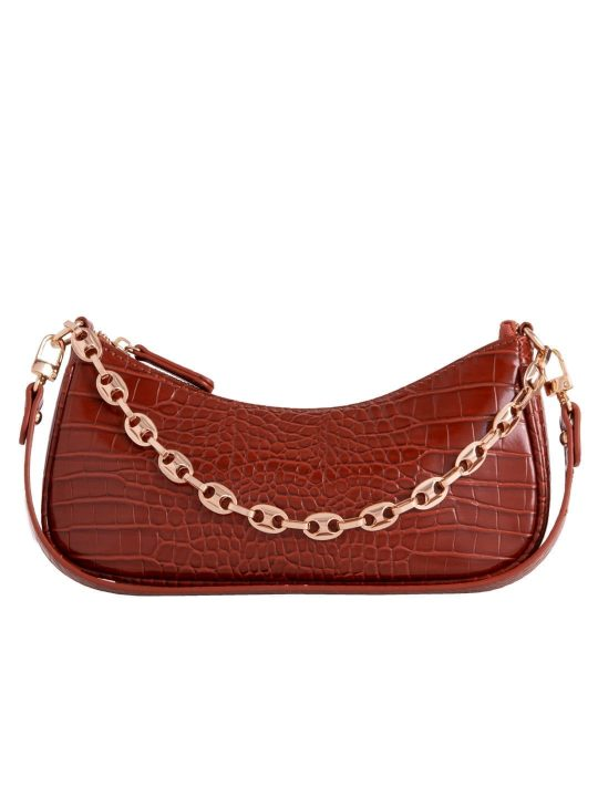 Tan Vintage Chain Shoulder Bag