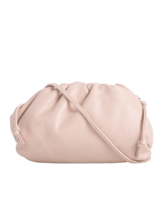 Beige Ruched Shoulder Bag