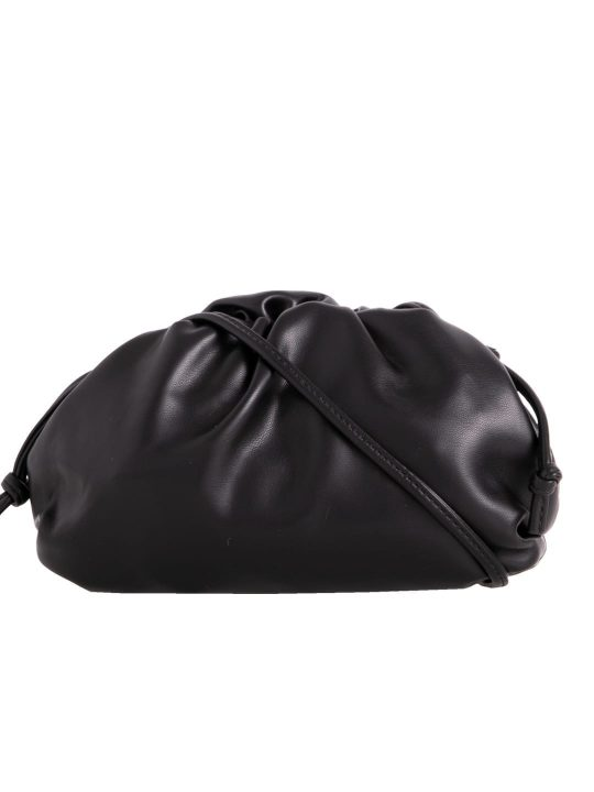 black ruched shoulder bag