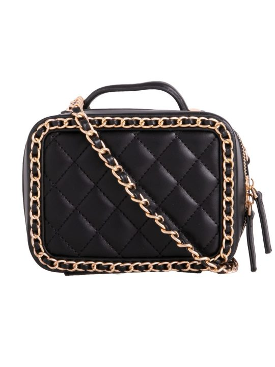 Black Quilted Box Bag