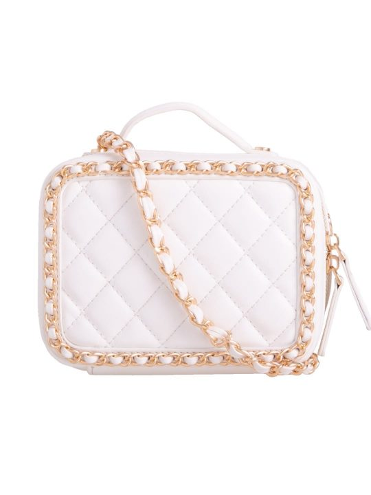 White Quilted Box Bag