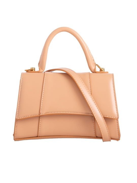Khaki Faux Leather Handbag