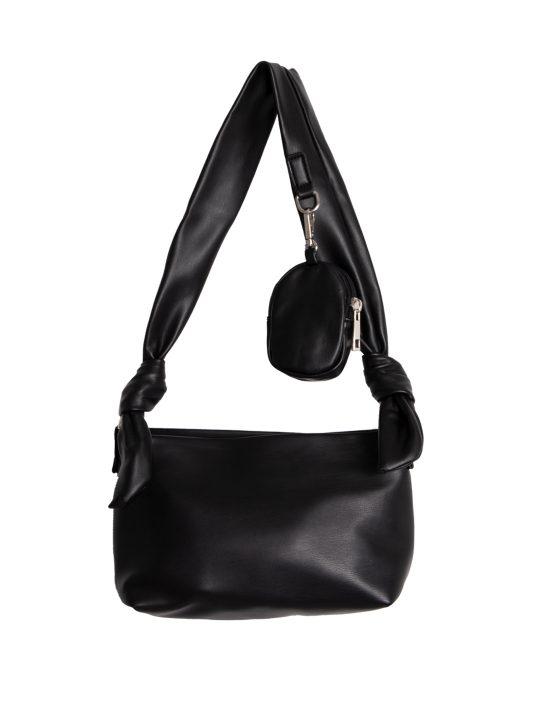 Black Tie Strap Shoulder Bag