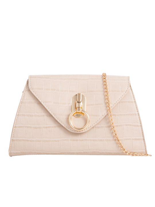 Beige Pearl Handle Bag