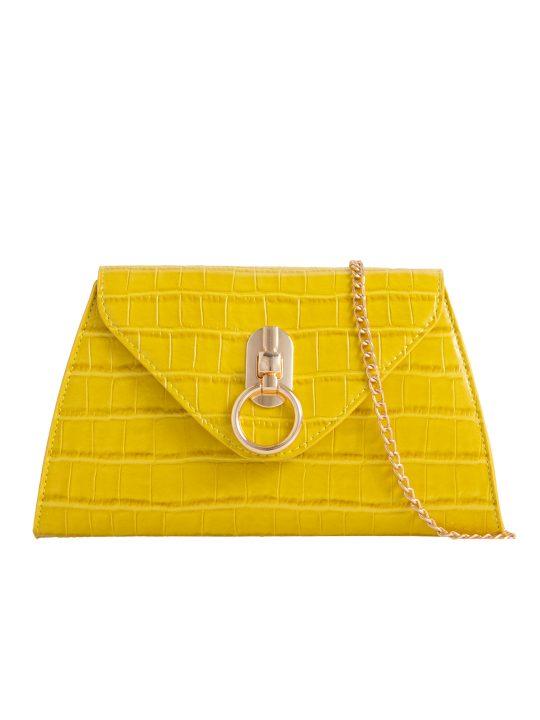 Yellow Pearl Handle Bag