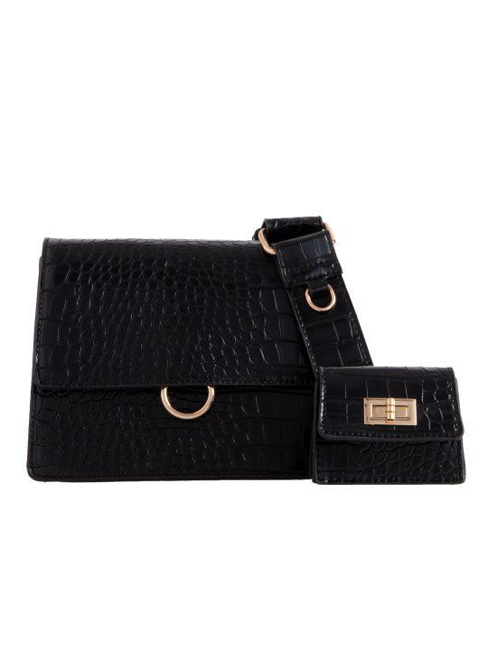 Black Faux Croc Skin Shoulder Bag