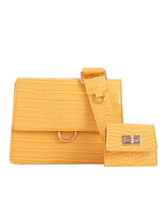 Yellow Faux Croc Skin Shoulder Bag